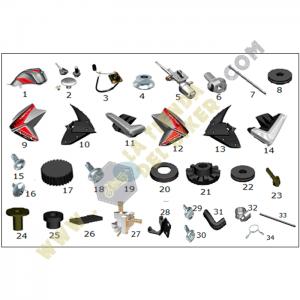 Tanque de gasolina y tapas laterales - Crossover250, refacciones, vento, la tienda del biker